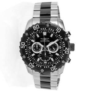 [インヴィクタ]Invicta Pro Diver Chronograph Black Dial Two Tone Black IP Bracelet Watch 22521