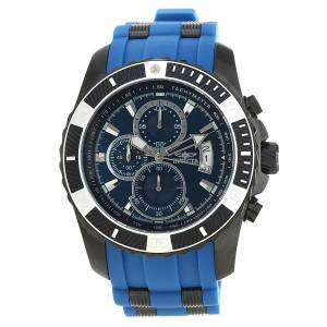 [インヴィクタ]Invicta Pro Diver Chronograph Black Steel & Blue Polyurethane Strap Watch 22432