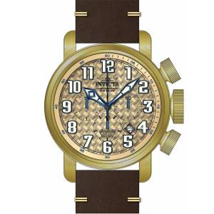 [インヴィクタ]Invicta Aviator Chronograph Beige Glass Fiber Dial Brown Leather Strap 22265