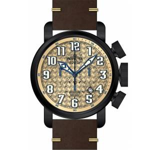 [インヴィクタ]Invicta Aviator Chronograph Beige Glass Fiber Dial Brown Leather Strap 22268