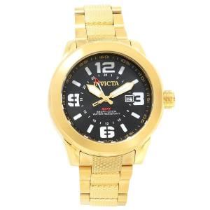 [インヴィクタ]Invicta Coalition Forces Quartz GMT Black Dial Yellow Gold Steel Bracelet 90276