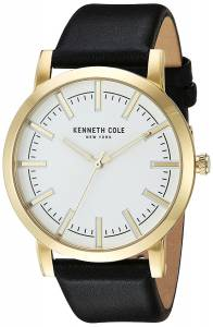 [ケネスコール]Kenneth Cole New York 'Slim' Quartz Stainless Steel and Leather Dress 10030810