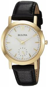 [ブローバ]Bulova  Quartz Stainless Steel and Leather Casual Watch, Color:Black 97L159
