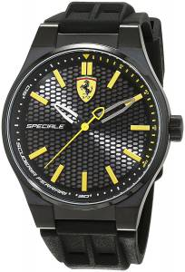 [フェラーリ]Ferrari 44mm Black Rubber Band IP Steel Case Quartz Analog Watch 7613272218818