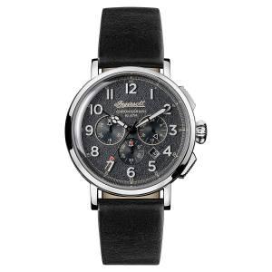 [インガソール]Ingersoll  Quartz Stainless Steel and Leather Casual Watch, Color:Black I01701