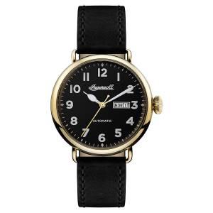 [インガソール]Ingersoll Automatic Stainless Steel and Leather Casual Watch, Color:Black I03401