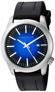 [モーメンタム]Momentum Quartz Stainless Steel and Rubber Dress Watch, Color:Black 1M-SP10U1B