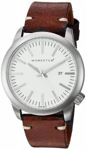[モーメンタム]Momentum Quartz Stainless Steel and Leather Dress Watch, Color:Brown 1M-SP10W3C