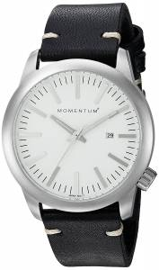 [モーメンタム]Momentum Quartz Stainless Steel and Leather Dress Watch, Color:Black 1M-SP10W3B