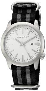 [モーメンタム]Momentum  Quartz Stainless Steel and Nylon Dress Watch, Color:Black 1M-SP10W7S