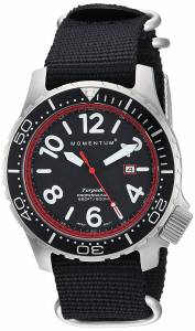 [モーメンタム]Momentum  Quartz Stainless Steel and Nylon Watch, Color:Black 1M-DV74R7B