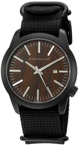 [モーメンタム]Momentum  Quartz Stainless Steel and Nylon Watch, Color:Black 1M-SP14C7B