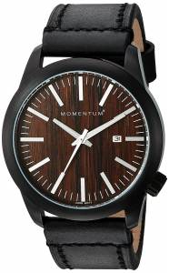[モーメンタム]Momentum  Quartz Stainless Steel and Leather Watch, Color:Black 1M-SP14C2B
