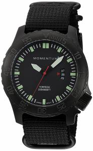 [モーメンタム]Momentum  Quartz Stainless Steel and Nylon Watch, Color:Black 1M-DV76B7B