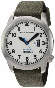 [モーメンタム]Momentum Swiss Quartz Stainless Steel and Canvas Watch, Color:Green 1M-SP18LS6G