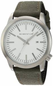 [モーメンタム]Momentum Quartz Stainless Steel and Canvas Dress Watch, Color:Green 1M-SP10W6G