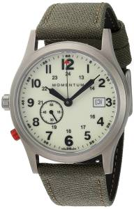 [モーメンタム]Momentum  Quartz Titanium and Canvas Dress Watch, Color:Green 1M-SP60L6G