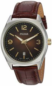 [パルサー]Pulsar 腕時計 Quartz Brass and Leather Dress Watch, Color:Brown PS9485 メンズ