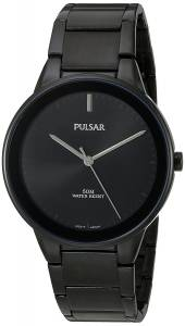 [パルサー]Pulsar  Quartz Brass and Stainless Steel Dress Watch, Color:Black PG2045 メンズ