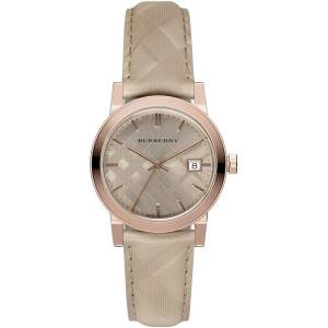[バーバリー]BURBERRY  Beige Leather Band Steel Case Swiss Quartz Bronze Dial Analog BU9154