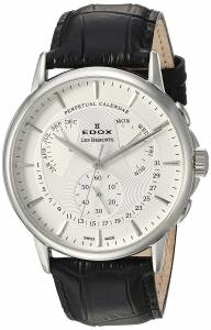 [エドックス]Edox 'Les Bemonts' Swiss Quartz Stainless Steel and Leather Dress 01602 3 AIN