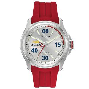 [シチズン]Citizen  US Open Silver/Red Polyurethane Analog EcoDrive J830 Watch AW2011-08A