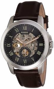 [フォッシル]Fossil  ' Mechanical Hand Wind Stainless Steel and Leather Casual Watch, ME3095
