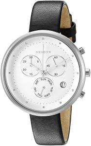 [スカーゲン]Skagen  'Gitte' Quartz Stainless Steel and Black Leather Casual Watch SKW2427