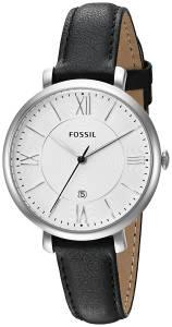 [フォッシル]Fossil  Jacqueline Stainless Steel Watch with Black Leather Band ES3972