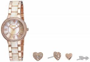 [フォッシル]Fossil  Virginia ThreeHand Stainless Steel Watch and Earring Set ES3965SET
