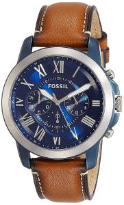 [フォッシル]Fossil Grant Chronograph Stainless Steel Watch With Light Brown Leather Band FS5151