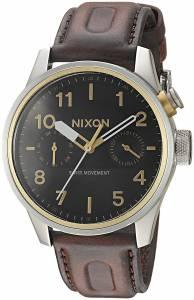 [ニクソン]NIXON  'Safari Deluxe Leather' Quartz Stainless Steel Watch, Color:Brown A977019