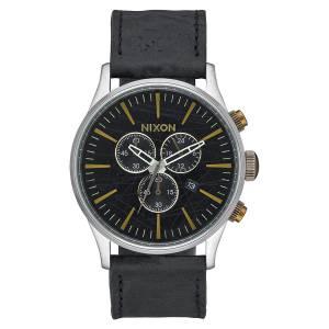 [ニクソン]Nixon 腕時計 A4052222 Black Leather Quartz Watch Sentry Chrono Leather メンズ