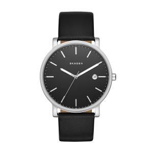 [スカーゲン]Skagen 腕時計 Hagen Black Leather Watch SKW6294 メンズ [並行輸入品]