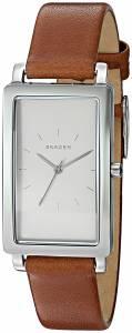 [スカーゲン]Skagen  'Hagen' Quartz Stainless Steel and Leather Watch, Color:Brown SKW2464