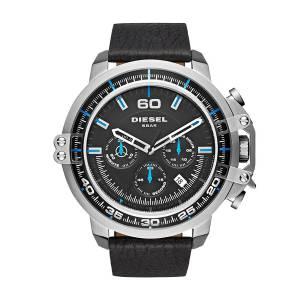 [ディーゼル]Diesel 腕時計 Deadeye Stainless Steel Black Leather Watch DZ4408 メンズ