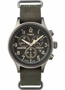 [タイメックス]Timex Expedition Scout Analog Chronograph Dark Khaki Indiglo Leather TW4B04100