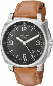 [ニクソン]NIXON  'Charger' Quartz Metal and Leather Watch, Color:Brown A10771037-00 メンズ