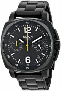 [ニクソン]NIXON 'Charger Chrono' Quartz Metal and Stainless Steel Watch, Color:Black A1071001-00