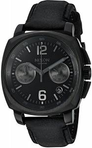 [ニクソン]NIXON  'Charger Chrono' Quartz Metal and Leather Watch, Color:Black A1073001-00