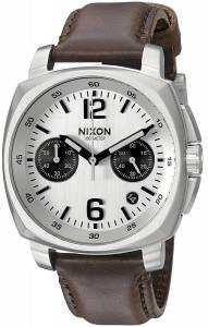 [ニクソン]NIXON  'Charger Chrono' Quartz Metal and Leather Watch, Color:Brown A10731113-00