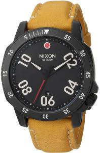 [ニクソン]NIXON  'Ranger' Quartz Metal and Leather Watch, Color:Orange A5082448-00 メンズ