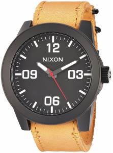 [ニクソン]NIXON  'Corporal' Quartz Metal and Leather Watch, Color:Orange A2432448-00 メンズ