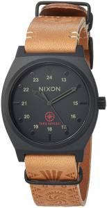 [ニクソン]NIXON 'Time Teller LTD' Quartz Metal and Leather Watch, Color:Black/Tan A11202519-00