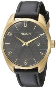 [ニクソン]NIXON  'Bullet' Quartz Metal and Leather Watch, Color:Black A4732478-00