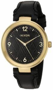 [ニクソン]NIXON  'Chameleon' Quartz Metal and Leather Watch, Color:Black A9922478-00