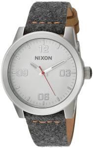 [ニクソン]NIXON  'G.I. Leather' Quartz Metal and Cloth Watch, Color:Grey A9332476-00