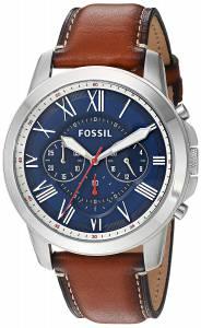 [フォッシル]Fossil  Quartz Stainless Steel and Leather Casual Watch, Color:Brown FS5210