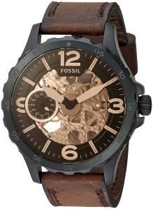 [フォッシル]Fossil  Stainless Steel and Leather Automatic Watch, Color:Brown ME3127 メンズ
