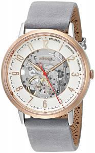 [フォッシル]Fossil  Automatic Stainless Steel and Leather Casual Watch, Color:Grey ME3131